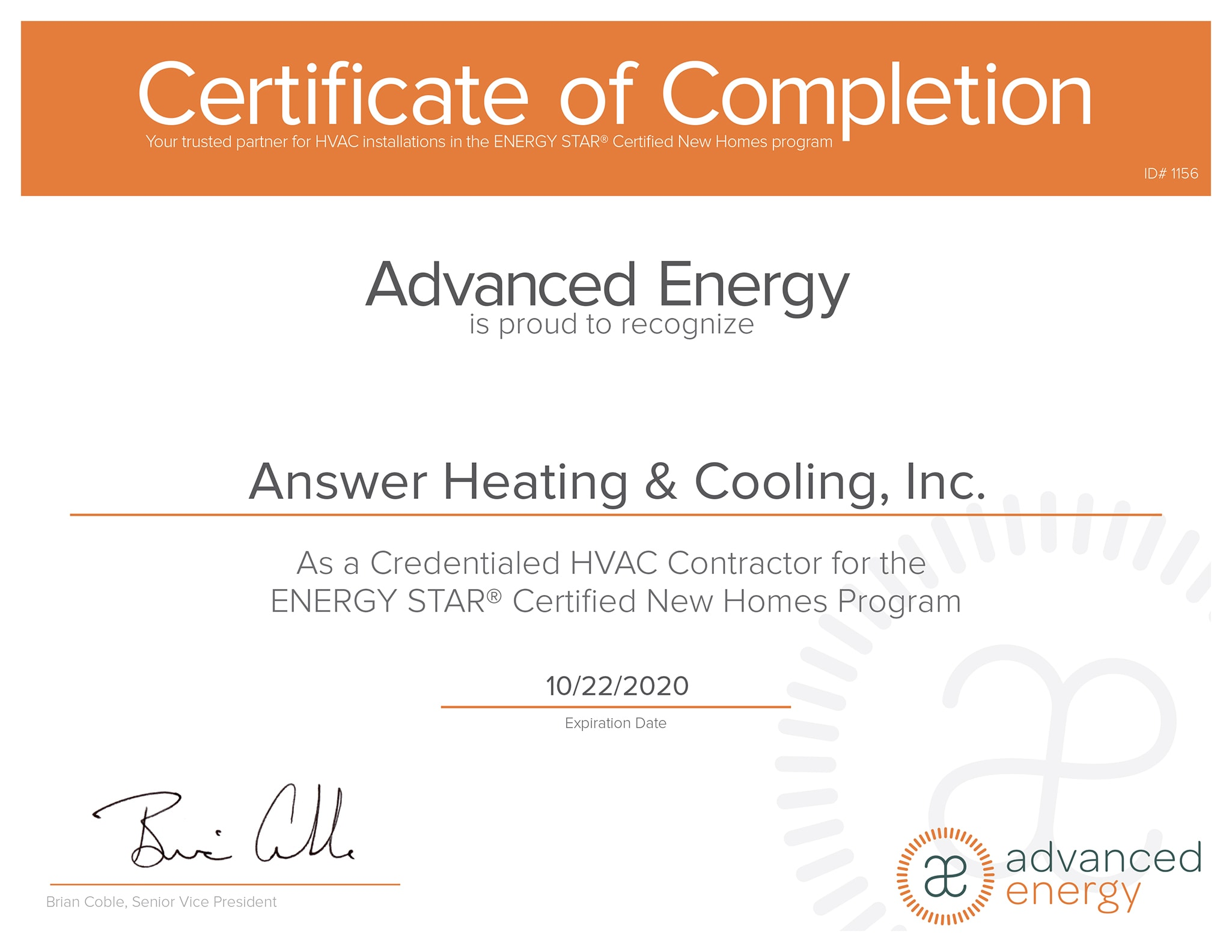 ENERGY STAR Certificate of Completion.